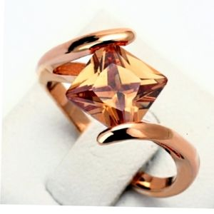 Princess Morganite Suspension 18K Rose Gold Ring